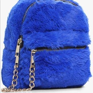 Fuzzy Blue Mini Backpack